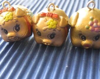 piggy bank pig cute kitsch gold charms x 4