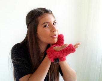 Red Fingerless Mitts Handknit in Alpaca and Wool, with Charcoal Bow.