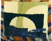9.17.2012 small art quilt, contemporary, abstract, square, navy, teal, batik, indigo, celadon, cream, rust, boro