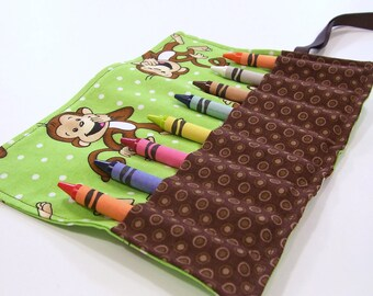 Crayon Roll Up GIGGLE MONKEY GREEN Crayon Roll - Party Favor - Stocking Stuffer