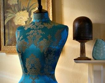 Interior Design Mannequin Damask Corset Laced Home Decor Dressform Bust - Celia in Peacock