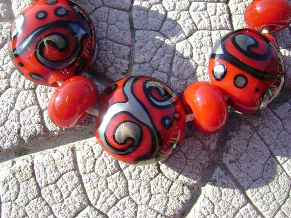 Rich Red LENTILS Lampwork Beads by Cherie Sra R114 Flameworked Scroll Lentil Glass Beads