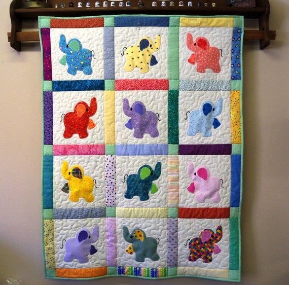 Elephant Treasures handmade quilt