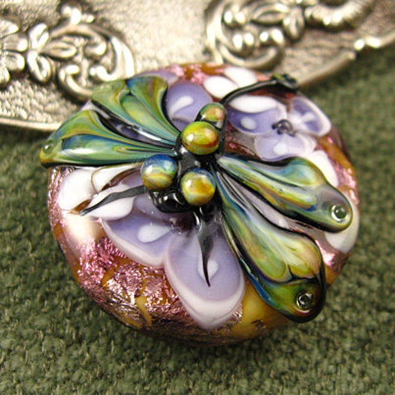 Lampwork Lavender Dragonfly Garden Focal Bead by Kerribeads - reserved for Leanne