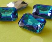 Two 18x13mm Light Bermuda Blue Octagon Rhinestone Jewels (60-13B-2)