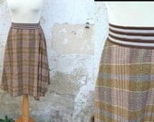Vintage 1980 assymetrical plaid skirt with striped elastic waist size M