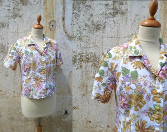 1980s Vintage tea party garden floral viscosa  blouse  size S