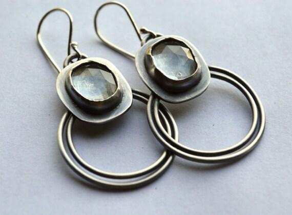 RESERVED - Balance  - Circle Dance   Aquamarine Earrings