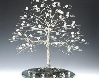 Winter Wedding Cake Topper Tree Silver with Swarovski Crystal Elements - 7 x 7 XLarge