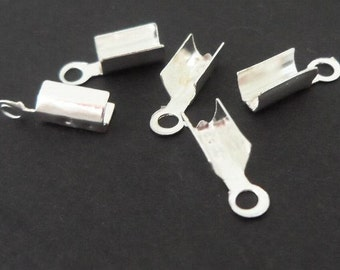 100pcs Silver-plated crimps cord end covers