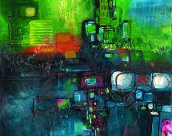 """Green Blue Abstract Painting on Canvas, Original Very Textured Large Mixed Media"""" Rhythm Of The City """" by Kathy Morton Stanion EBSQ"""