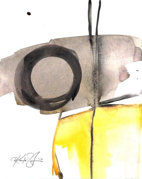 Original Enso Zen Painting Throw Pillows: Enso Painting Zen Circle Art Black Yellow Abstract