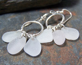 Triple Drops - Sea Glass STERLING Silver EARRINGS