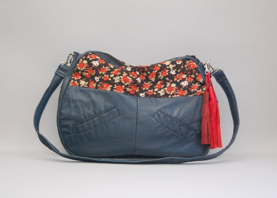 TUNDRA /// navy blue leather and red blossom floral fabric