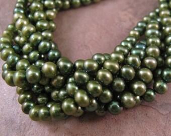 Green Freshwater Pearls, Beautiful Pearl Beads, Shaded Green Semi Round Potato Pearls, 5mm x 4mm, 15.5 Inch Strand (P-P2)