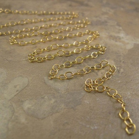 Thin Gold Chain, 14k Gold Filled Smooth Cable Chain, 5 Feet of 1.2mm Small Gold Jewelry Chain for Necklaces (1020f)