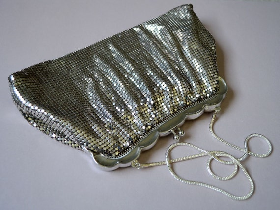Vintage Whiting and Davis Purse Silver Mesh 1940s
