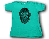 Smoking Chimp  Woodblock Printed Tee Shirt