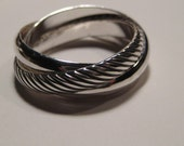 Single Diagonal ... one Diagonal band .. two Plain bands...Heavy Rolling ring ... Sterling Silver ..made to order in your size.........