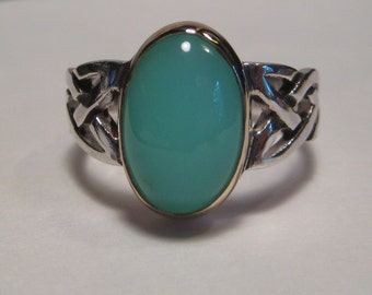 BEAUTIFUL Blue Peruvian Opal Ring ... Sterling Silver and 14 kt Gold ... Size 8.25                ......e466