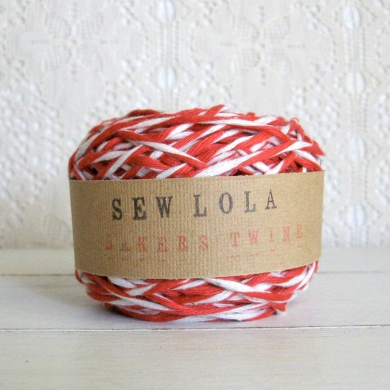 CHUNKY bakers twine - red and white