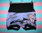 Womens ALL SiZES purple camo print black shorts boxer briefs HaNDMADE UNDERWEAR