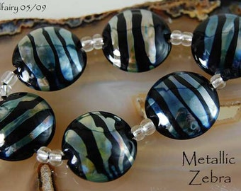 6 Metallic Black Zebra Lampwork Beads Handcrafted Lentil Glass Beads by Beadfairy Lampwork SRA