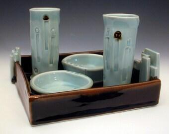 Handmade Ceramic Drink Set, Celadon Glaze, Porcelain Pottery