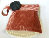 SALE! Dusty Pink Velvet Pleated Wristlet Clutch with Detachable Grey Wool Rose
