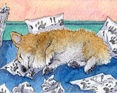 Welsh Corgi dog thinking 8x10 print