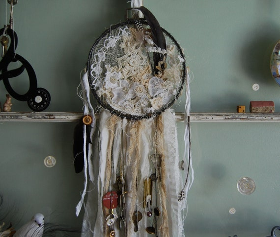 Dreams are Illustrations - Abandoned Vintage Bits and Pieces Dreamcatcher OOAK FunkyJunkyArt