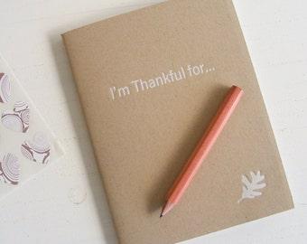 thankful pressed pocket journal in kraft