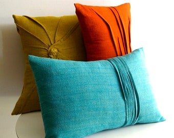 8 line accent pillow - PARROT BLUE linen pillow - textured pillow