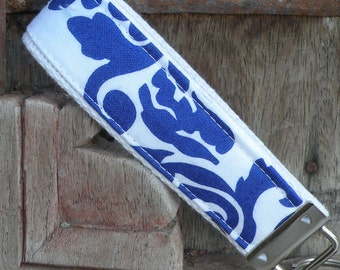 Key Chain-Key Fob-Wristlet- Periwinkle on White-READY TO SHIP