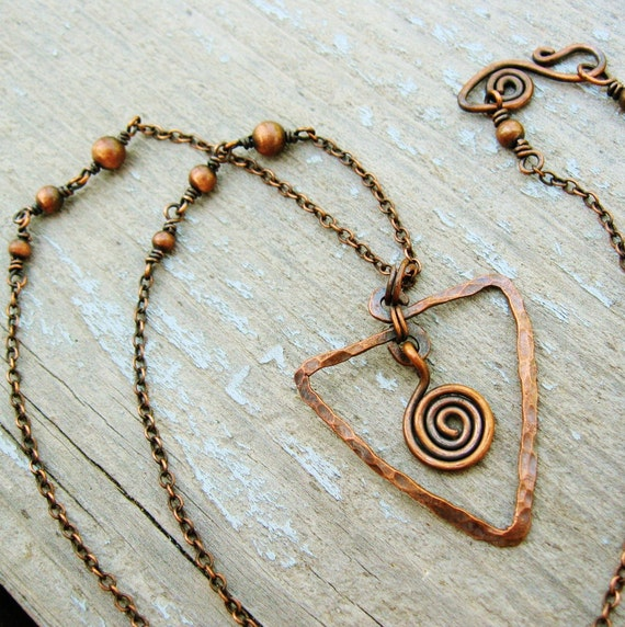 Hammered Antiqued Copper Necklace with Wire Wrap links