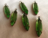 Peridot Green Transparent Cushion 24X6mm Vintage Navette Earring Drops 6 Pcs