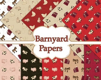 INSTANT Download Barnyard Farm Animals Digital Scrapbooking 10 Paper Pack Cow Horse Pig Chicken 12x12 Buy 1 Get 1 FREE
