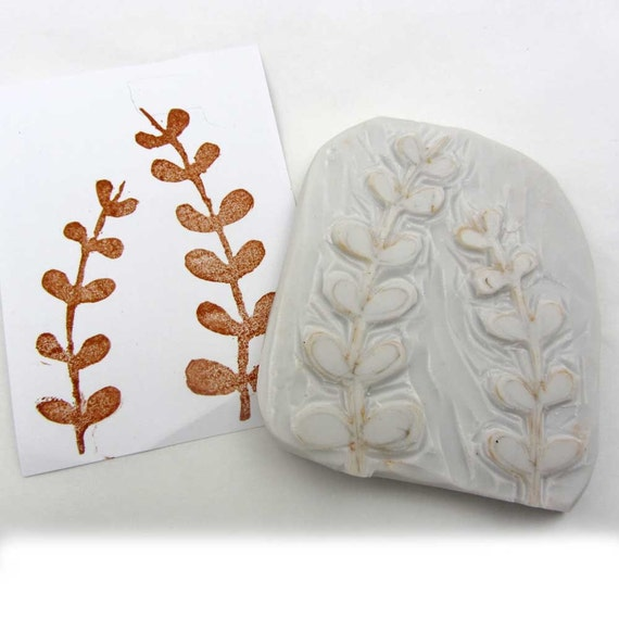 Hand carved leaves stamp