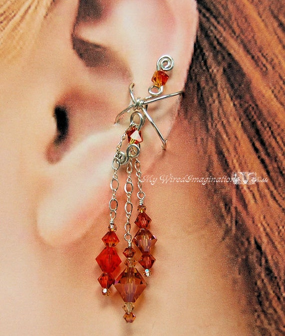 Spicy  - Wire Wrapped Ear Cuff in Solid Sterling Silver and Swarovski Crystal L-EC5