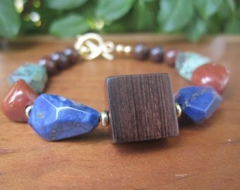 Fiesta - Bracelet - Wooden Handmade Focal Bead - Multi Colour - Lapis - Royal Blue - Red - Ox blood -  Turquoise - Boho Womens Jewelry