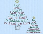 Luke 2:11 Christmas Tree Words machine embroidery design file in 2 sizes