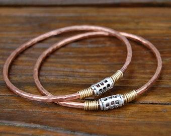 1 Handcrafted Copper-Sterling-Brass Bangle - koregon