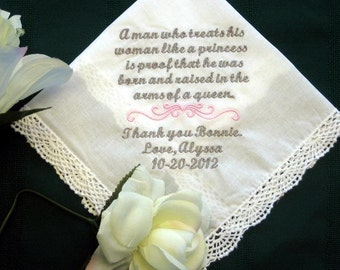 Mother of Groom 134S Personalized Wedding Handkerchief custom mom handkerchief