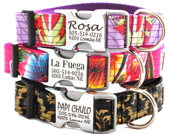 Lazer Engraved Metal Buckle Personalized Dog Collar - 12 Oilcloth styles to choose from
