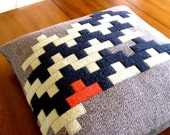 STACKED TILES PILLOW. navy, celedon, persimmon. made from recycled wool.