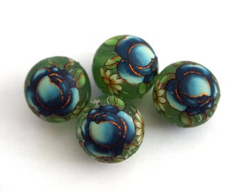 Matte green blue rose Japanese tensha beads