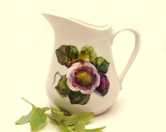 Hand Painted Creamer Pitcher Servingware- Original Floral- Home Decor