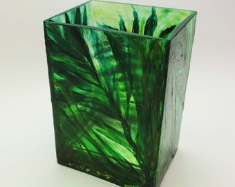 Hand Painted Rectangular Glass Vase-Botanical Greenery Home Decor- Modern Contemporary Nature Leaves