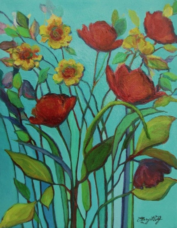 Original Contemporary Floral Painting- Red Poppies Wildflowers- 11x14 Canvas Wall Art