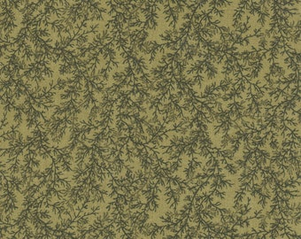 Green With Vines All Over Fabric, 100% Cotton.